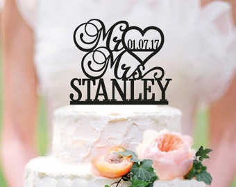 Personalized Mr and Mrs Wedding Cake Topper with YOUR Last Name and Date /ST007 - Mr and Mrs Wedding Cake Topper - Wood cake topper