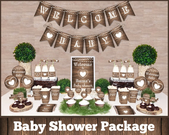 Rustic baby shower decorations printable package gender for Baby shower decoration packages