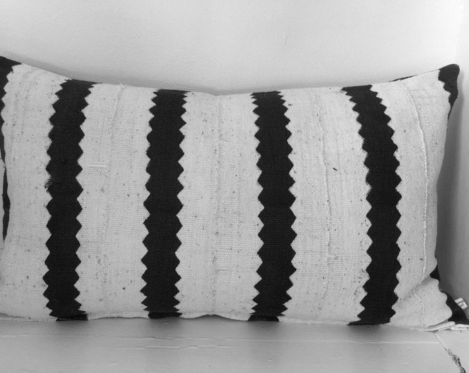 "Little Bintou: African Mud Cloth lumbar throw pillow 12"" x 20"""