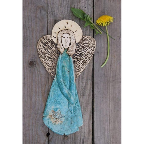Ceramic angel wall decor guardian angel angel pendant wall for Angel wall decoration