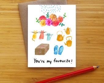 Favourite Things Valentine Card - Sound of Music - Greeting Card - Raindrops on Roses