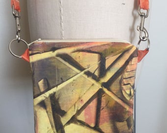 Crossbody Bag, Large HandPainted Bag, Yellow Canvas Bag, Medium Zipper Bag, Zip Clutch Bag,Shoulder Bag,HandPrinted Bag,Designer Bag