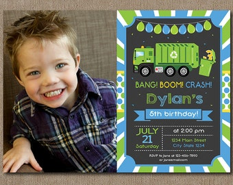 Garbage Truck Birthday Invitation, Garbage Truck Birthday Invite, Chalkboard, printable, photo invitation, chalkboard
