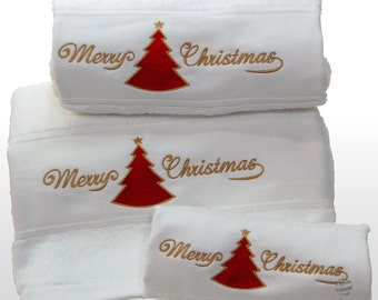 Merry Xmas Set of 3 embroidered white bath towels – Ref. Red Christmas Tree