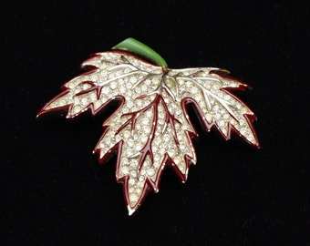 Vintage Rhinestone and Enamel Maple Leaf Brooch