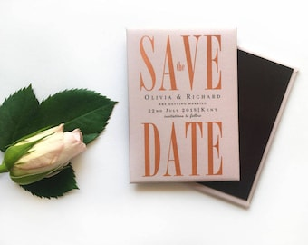 Wedding Save the Date Magnet - Elegant Rose Gold and Blush Pink