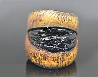 cat eye ring, magic eye ring, natural leather ring, large leather ring, statement ring