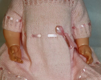 pink knitted  dress hand knitted dress vintage knit handmade  dress suit baby or doll pink knitted dress vintage dress fine knit vintage