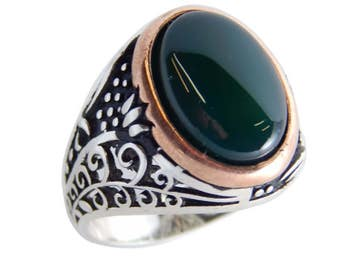 Man ring with agate