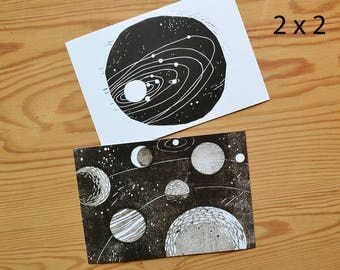 "Postcard set of 4 ""planets"""