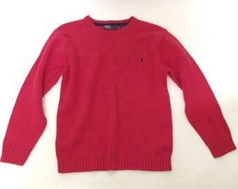VINTAGE Womens Ralph Lauren Polo Crew Neck Knit Sweater Sz Large L Red Pullover