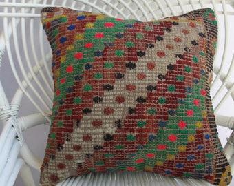 Anatolian Turkish embroidered kilim pillow cover 16x16 kilim pillow cushion cover naturel kilim pillow made by Sarikaya Turkish pillow  2287