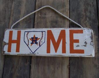 Houston Astros Home plate sign | Astros baseball sign | Rustic baseball sign | hand-painted Astros sign | Astros wall sign