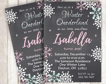 Winter Onederland Invitation Snowflake Invitation Onederland Party Onederland Birthday Invite Snowflake Invite Chalkboard Printable BRWI10