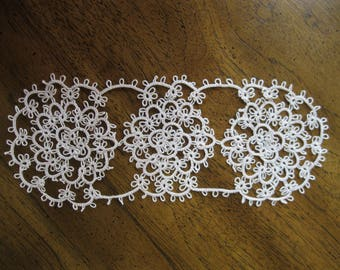 Handmade Ecru Tan Tatted Lace Doily