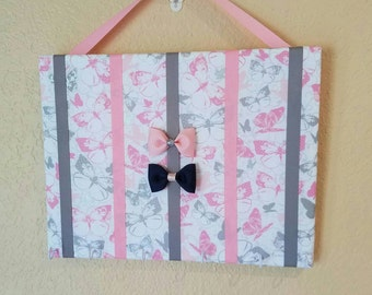 Pink and Gray Butterfly Hair Bow Holder & Headband Organizer/Padded Hair Bow Organizer with Hooks for Headbands/Head Band organizer