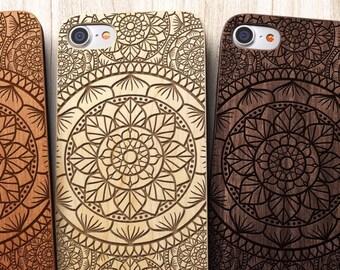 Mandala iPhone 8 case, 8 PLUS, X, SE 5s 5 6 /6s 7 Plus Case Samsung Galaxy S6 S7 S8 Edge Real Wood Case Laser Engraved iPhone Wooden Case