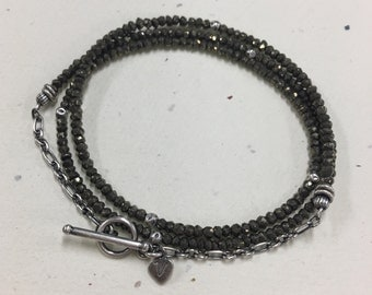 The 3 Wrap in Pyrite.Faceted Pyrite and Oxidized Sterling Silver Wrap Bracelet or Necklace.Pyrite & Sterling Silver Necklace / Wrap Bracelet