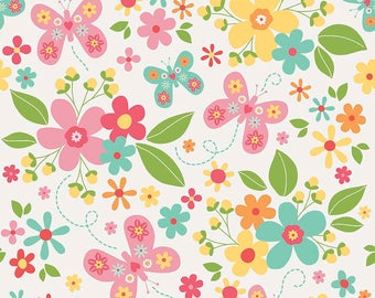 Garden Girl - Per Yd - Riley Blake - by Zoe Pearn - Floral on White