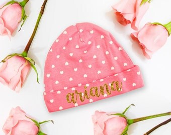 Personalized Name Newborn Baby Cap, Girl Coming Home Hat Outfit Pink and White Hearts