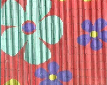 Colorful Flowers Bamboo Beaded Curtain