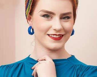 Lydia fakelite hoop stud earrings - Blue