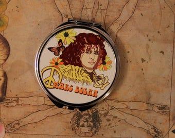 Marc Bolan circular pocket mirror - T Rex, Glam Rock, Swan, Flowers,