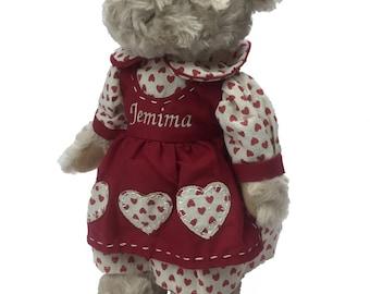 Personalised Teddy Bear In Love Heart Dress