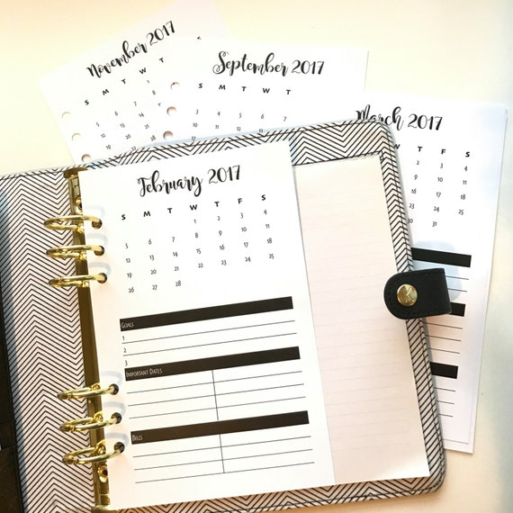 Monthly Highlights Bold | Dated January 2017- December 2017 | Half Letter Size Planner Inserts