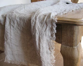 Raw Linen Tablecloth.Rustic Tablecloth.Natural Table Cover.100% Linen. Custom Size