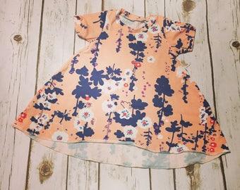 Girls Floral T-Shirt Dress-Hi-Lo Dress-Spring Baby dress