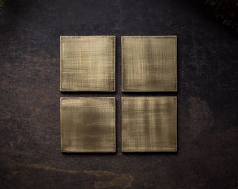 4 coasters made brass & Cork in the industrial - USED - LOOK | Stage 1