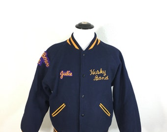vintage 100% wool varsity jacket with patches made in usa mens size 44