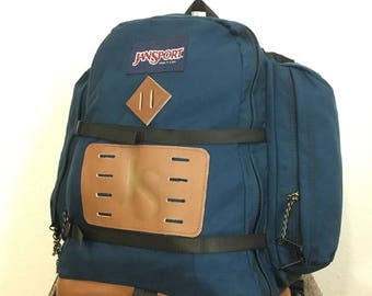 90's jansport bottom leather backpack day pack made in usa size large