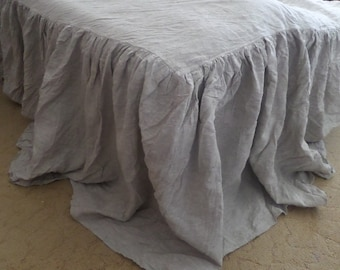 Linen ruffled COVERLET Linen bedspread Bed COVERLET natural gray coverlet SKIRTED bed cover Shabby Chic Farmhouse Bedding