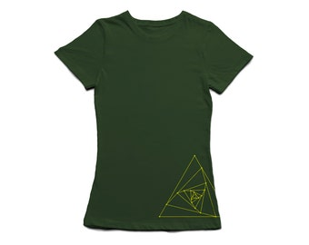 Geometry Fitted Womens T-Shirt - Pyramid Triangle Vortex