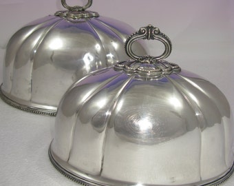 Stunning Pair Silver plated Meat Dome Covers Circa 1900