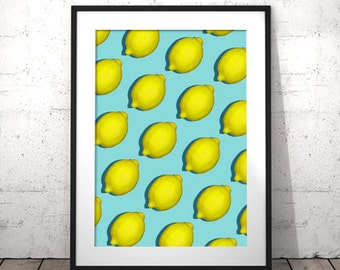 Printable Fruit Art, Lemon Wall Print, Lemon Printable, Citrus Kitchen Print, Digital Download Print, Lemon Print, Modern Farmhouse Art