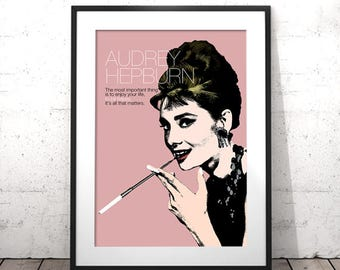 Audrey Hepburn Poster, Printable Fashion Wall Art, Blush Pink Printable Art, Audrey Hepburn Prints, Audrey Hepburn Quotes, Fashion Poster
