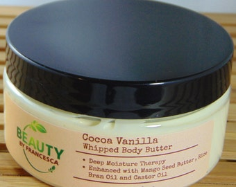 Cocoa Vanilla  Whipped Body Butter, Whipped Shea Butter, Whipped Cocoa Butter. Whipped Body Cream, Body Souffle