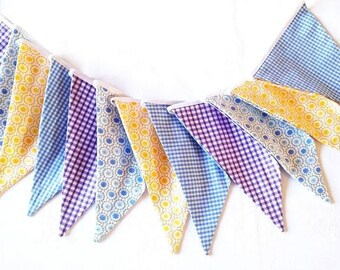 Bunting 12 flags Fabric garland Nursery bunting Baby shower Pennant banner Fabric flags Party decor Pastel