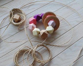 BPA free silicone teething ring, Montessori toy, baby carrier teether