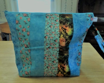 "Large Zippered, Padded Knitting/Crochet/Loom/Anything Bag -14""x12"", Side Handle, ""Strip"" Design In Blues, Aqua, Greens, Floral, Dragonflies"