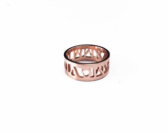 Custom Name Rings, Personalized Name Rings, Engraved Name Rings, Nameplate Rings, Hollow out Rings, Custom Rings, Silver Rings, Gift for Her
