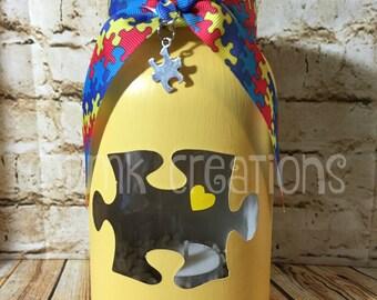 Autism Awareness  Painted Mason Jar Tea Light Candle Holder, Autism, painted mason jar, tea light candle holder, autism awareness, mason jar
