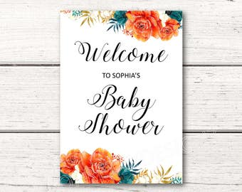 Printable Personalized Welcome Baby Shower Sign - Orange Navy Floral Flowers - Boy or Girl - Gender Neautral DESIGN 114