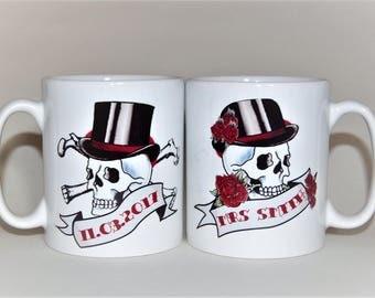 MR & MRS mugs skull tattoos pair weddings mugs anniversary wedding gift his and hers mugs personalised mugs custom wedding gift