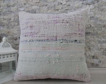 Pure Wool Vintage Turkish Kilim Pillow Cover 16 x 16 Handmade Natural organic Pillow Home Decor Bedding Pillow Kilim Pillow Sofa Pillow