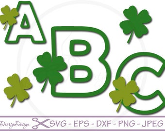 St Patricks Day Alphabet, St Patricks Day Font, St Patricks Day SVG, DXF, eps font, Cut Files for Cricut, svg fonts, Silhouette files