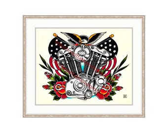 "Harley Davidson Vintage Ironhead 11""x14"" Giclee Print. Motorcycle Engine. Rose Tattoo Flash. Vintage Bike. Bald Eagle. Americana. Biker Art."
